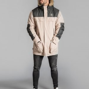 Gym King Colour Block Parka Jacket Beige