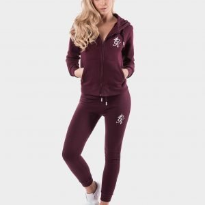 Gym King Fleece Full Zip Hoodie Burgundy / White