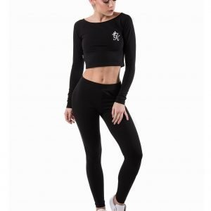 Gym King Long Sleeve Logo Crop Toppi Musta