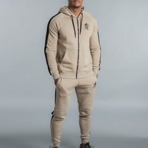Gym King Zip Tape Fleece Hoodie Beige