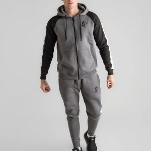 Gym King Zip Through Panel Fleece Hoodie Harmaa
