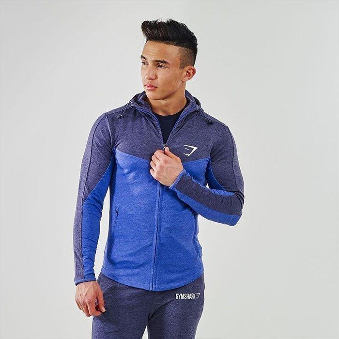 Gymshark Fit Hodded Top Navy/L blue