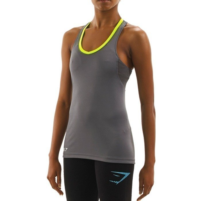 Gymshark Fit Tie Back Tank Top Grey/Green M