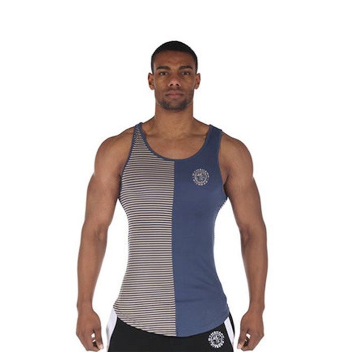 Gymshark Luxe Stripe Vest Blue/Cream XL
