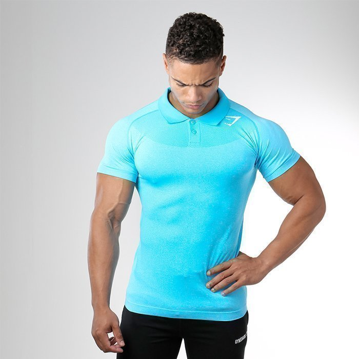 Gymshark Seamless Avant Polo Blue Marl/White XL
