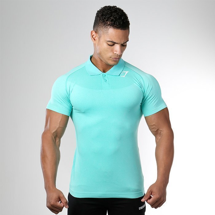 Gymshark Seamless Avant Polo Green Marl/White