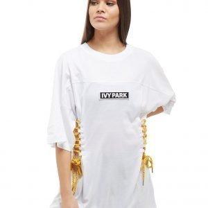 Ivy Park Lace Up Boyfriend T-Shirt Valkoinen
