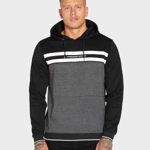 Jameson Carter Chest Stripe Overhead Hoodie Musta