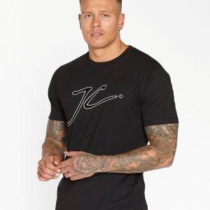Jameson Carter Large Flock Logo T-Paita Musta