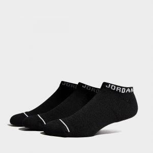 Jordan 3 Pack Dri-Fit No-Show Socks Musta