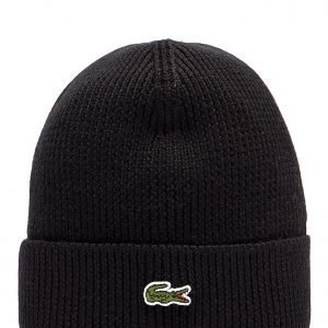Lacoste Cuffed Beanie Hat Musta