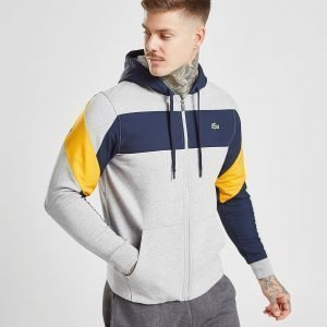 Lacoste Woven Panel Zip Through Hoodie Harmaa