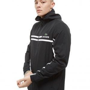 Lacoste Zip Through Hooded Stripe Jacket Musta