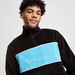 Mennace Polar Fleece 1/4 Zip Sweatshirt Musta
