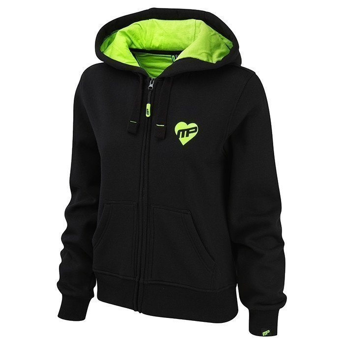 MusclePharm Women Full Zip Hood Black/Lime XS