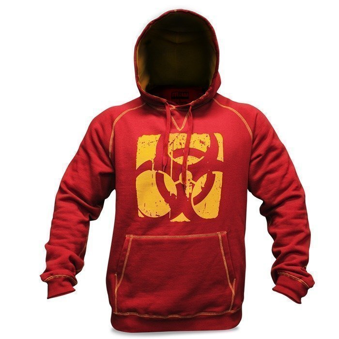 Mutant Contrast Stitch Hoodie (Burgundy/Yellow) - Medium