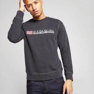 Napapijri Large Logo Crew Sweatshirt Musta