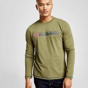 Napapijri Long Sleeve Large Logo T-Paita Vihreä