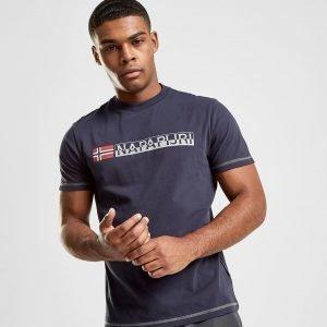 Napapijri Short Sleeve Logo T-Paita Laivastonsininen