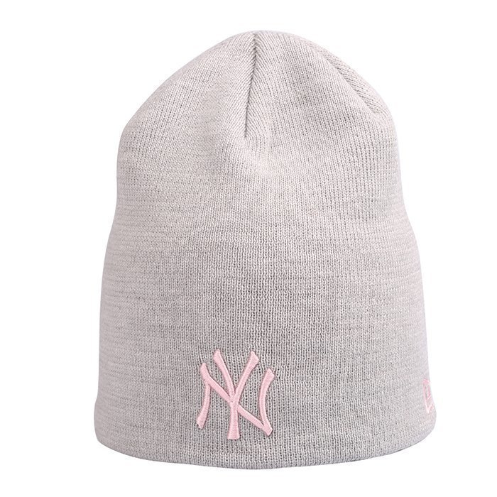 New Era MNO Womens Skull Knit New York Yankees Grey/Pink One Size