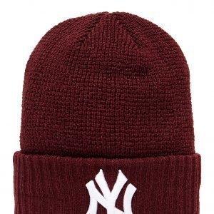New Era Mlb New York Yankees Knit Beanie Burgundy / White