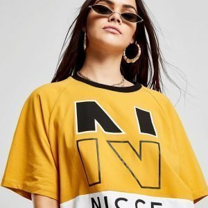 Nicce Colour Block Logo Crop T-Shirt Kulta