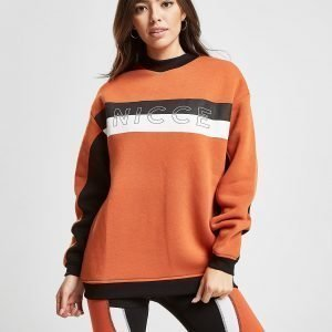 Nicce Colour Block Panel Crew Sweatshirt Oranssi