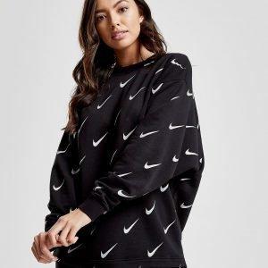 Nike All Over Print Swoosh Crew Sweatshirt Musta