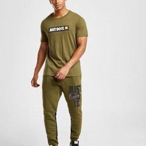 Nike 'Just Do It' Leg Logo Track Pants Olive / White / Black