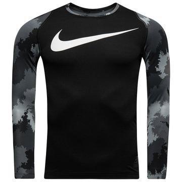 Nike Pro Hyperwarm AOP L/S Musta/Harmaa Lapset