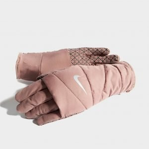 Nike Quilted Running Gloves Vaaleanpunainen