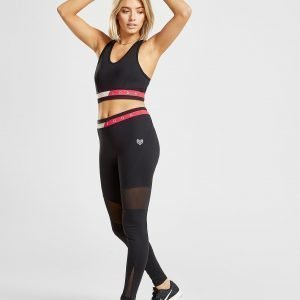 Pink Soda Sport Mesh Fitness Tights Musta