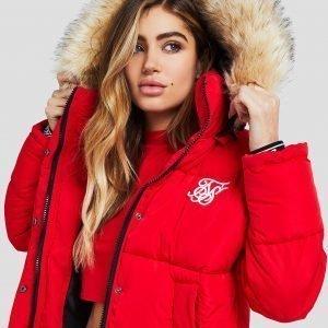 Siksilk Fur Hood Padded Jacket Punainen