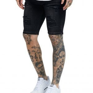 Siksilk Ripped Denim Shorts Musta