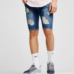 Siksilk Ripped Knee Denim Shorts Denim