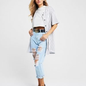 Siksilk Stripe Baseball Shirt Kermanvalkoinen