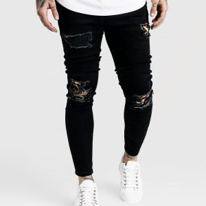 Siksilk X Dani Alves Skinny Distressed Jeans Musta