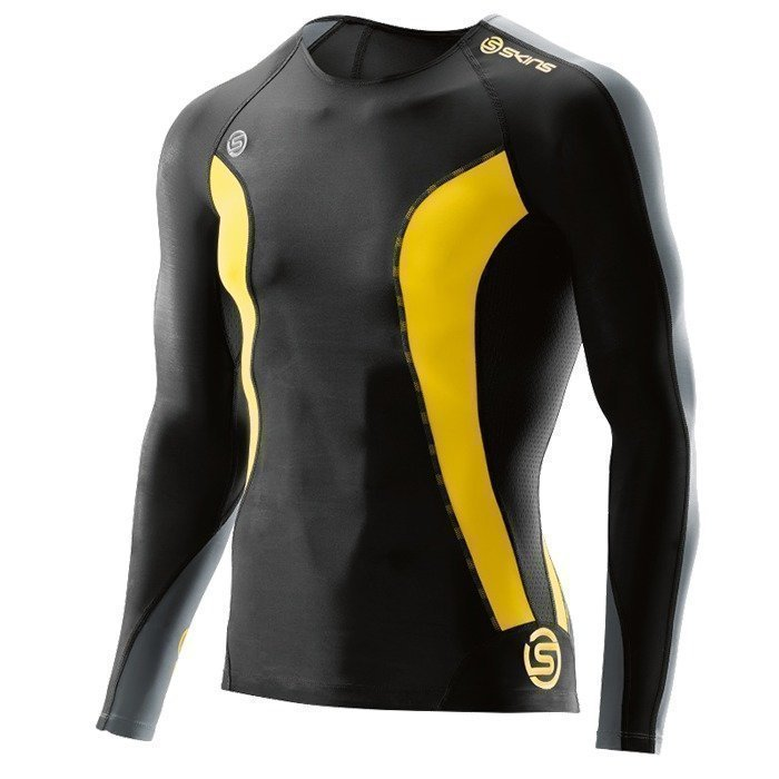 Skins DNAmic Men Top Long Sleeve Black/Citron XXL