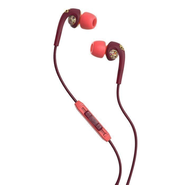 Skullcandy FIX IN EAR BOMBSHELL Floral/Burgundy/Rose Gold w/Mic3
