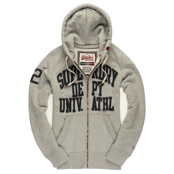 Superdry Core Applique Zip Hood Grey Marl M