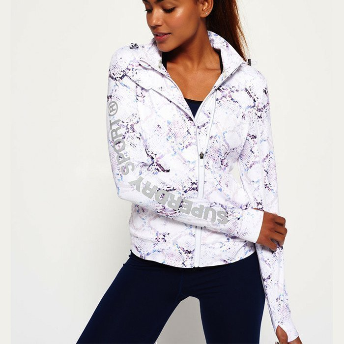 Superdry Gym Running Jacket White Python