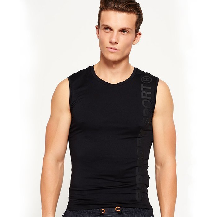 Superdry Gym Sport Runner Vest Black