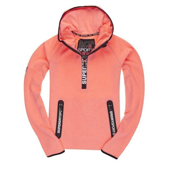 Superdry Gym Tech Women Hood Fluro Coral