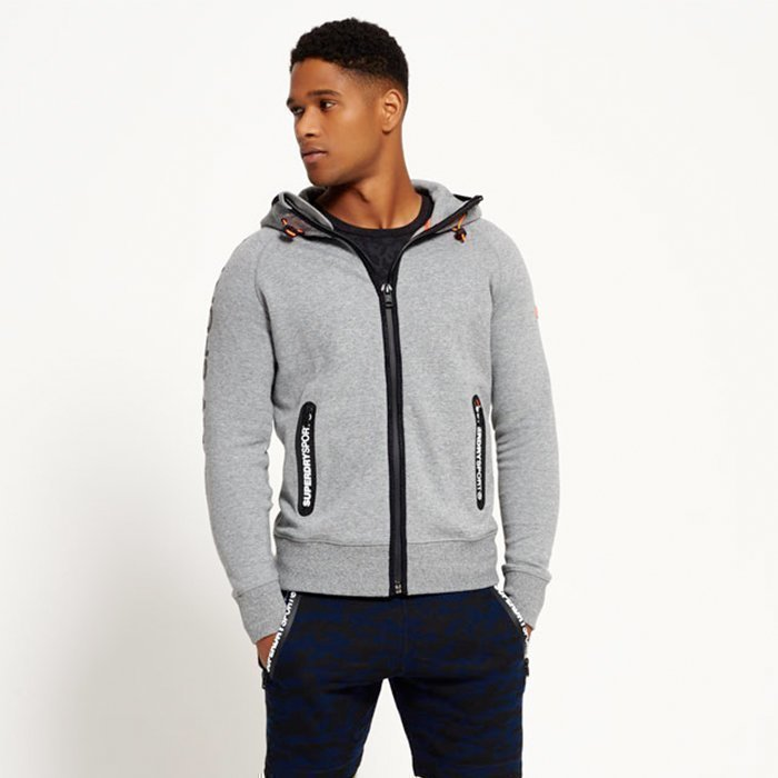 Superdry Gym Tech Ziphood Grey L