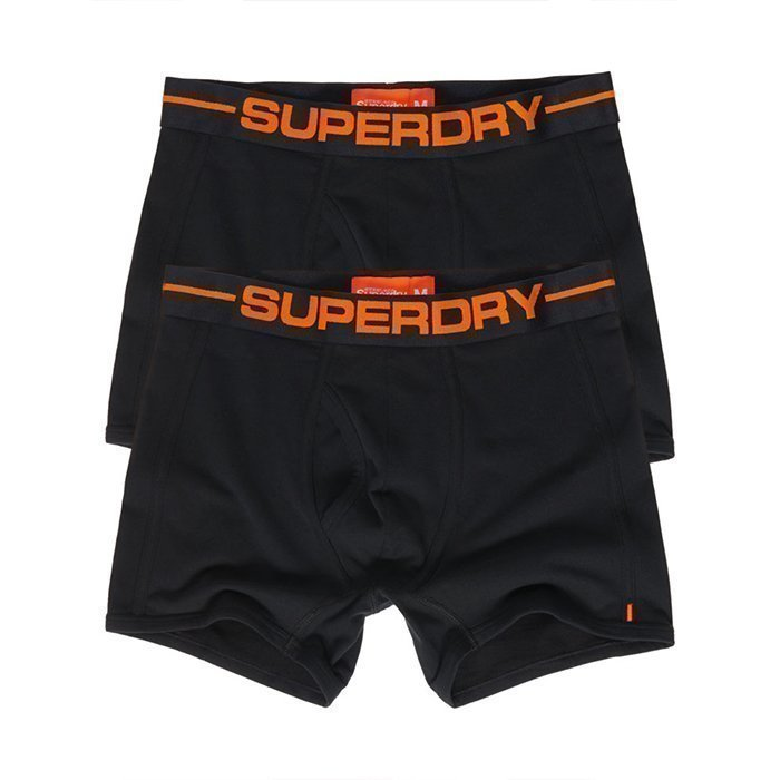 Superdry Men's Sport Boxer Double Pack Black/Black/Orange S