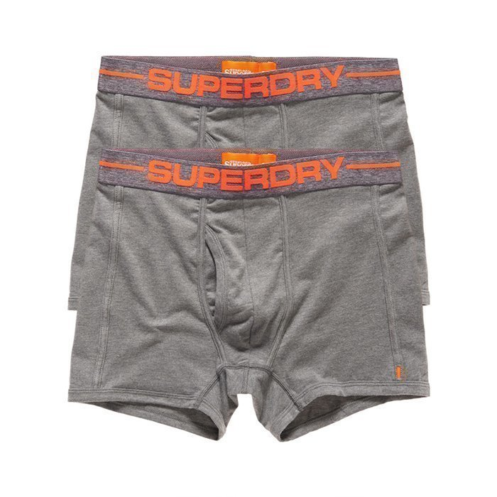 Superdry Men's Sport Boxer Double Pack Grey M