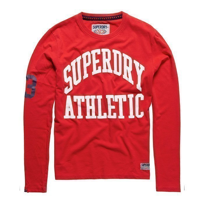 Superdry Men's Tigers Athletic Long Sleeve Rich Scarlet XXL