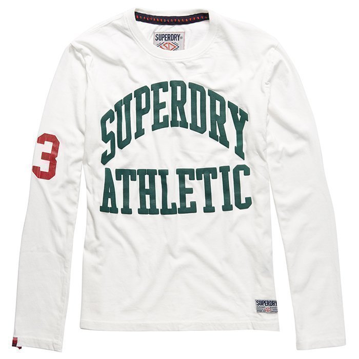 Superdry Men's Tigers Athletic Long Sleeve White/Green M