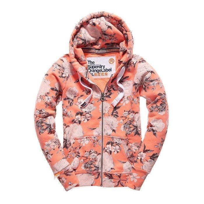 Superdry Women's Orange Label Aop Primary Ziphood Coral/Rose