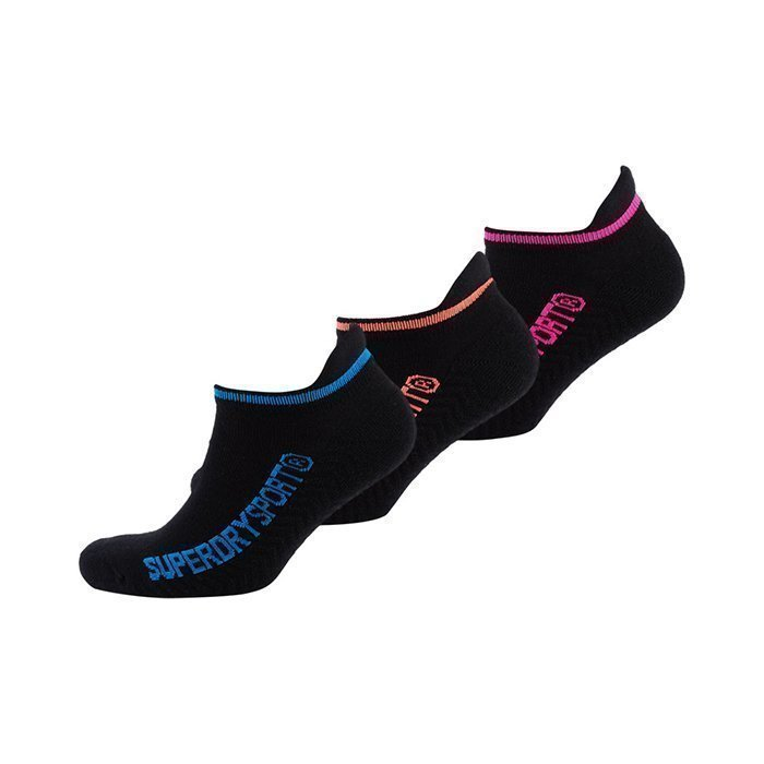 Superdry Women's Sport Trainer Sock Triple Pack Black Ice Melange OS